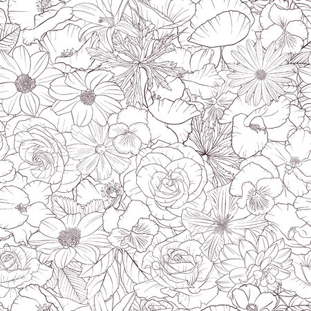 vector seamless pattern with drawing flowers