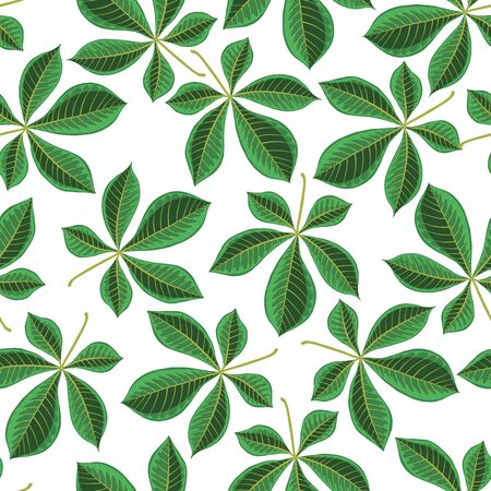 vector seamless pattern with drawing leaves