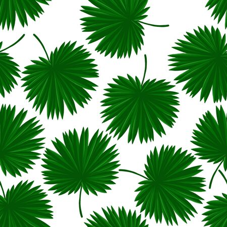 vector seamless pattern with drawing tropical leaf