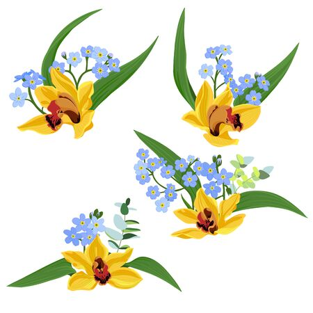 vector drawing flowers of orchids and blue forget-me-nots,, isolated floral elements at white background, hand drawn illustration Stock Illustratie