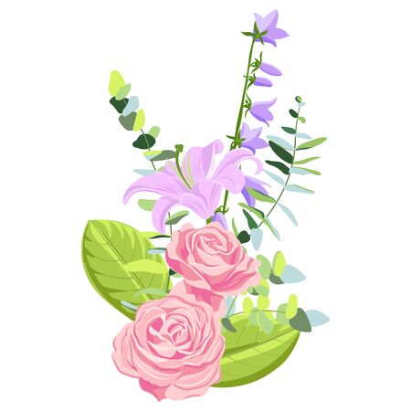 vector drawing flowers of pink roses, lilies and bellflowers, isolated floral elements at white background, hand drawn illustration