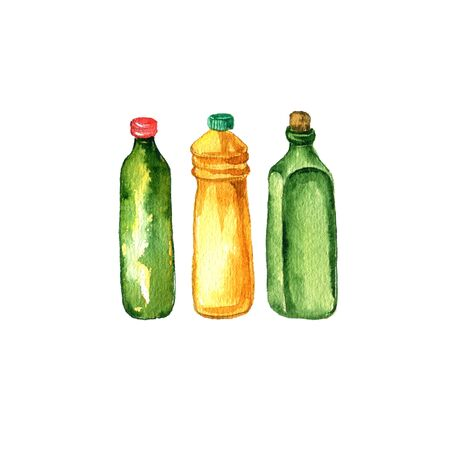 watercolor drawing glass bottles Reklamní fotografie