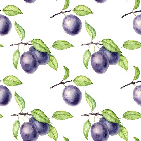 seamless pattern with branches of plum