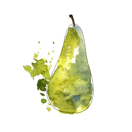 watercolor drawing green pear with paint splashes, hand drawn illustration