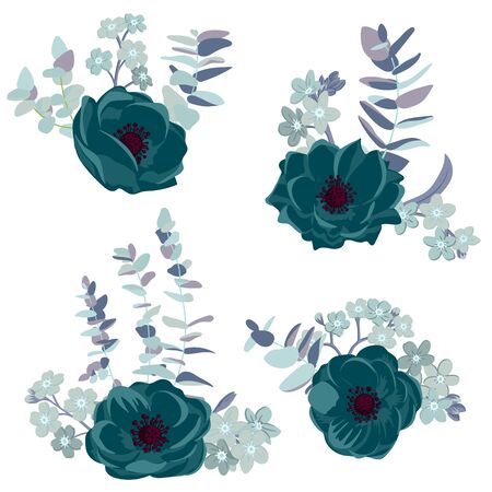 vector drawing flowers and leaves ,isolated floral design elements at white background, hand drawn illustration