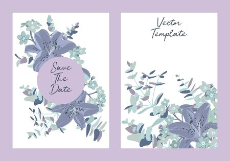 Set of vintage vector floral cards with lily flowers, victorian style, hand drawn design template, wedding ornament concept, floral poster or invitation