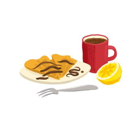 vector drawing breakfast