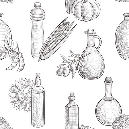 vector drawing seamless pattern with vegetable oils
