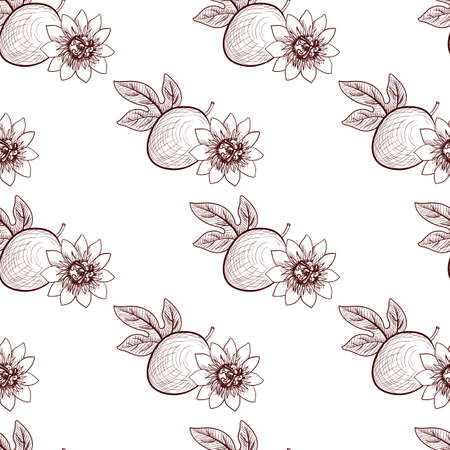 vector drawing seamless pattern with passion fruit, leaf and flower, Passiflora, hand drawn illustration