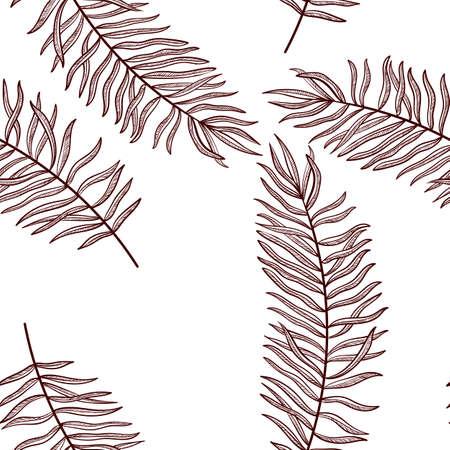 vector drawing seamless pattern with palm leaves, hand drawn illustration Illusztráció