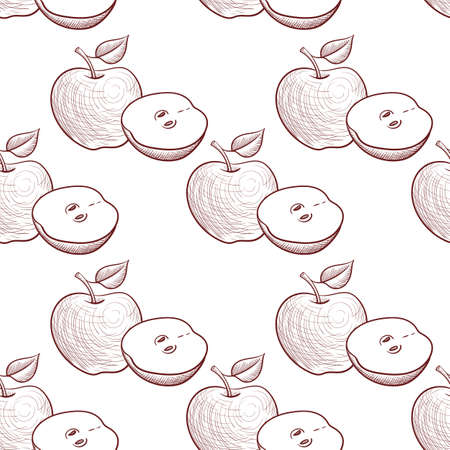 vector drawing seamless pattern with apples, hand drawn illustration