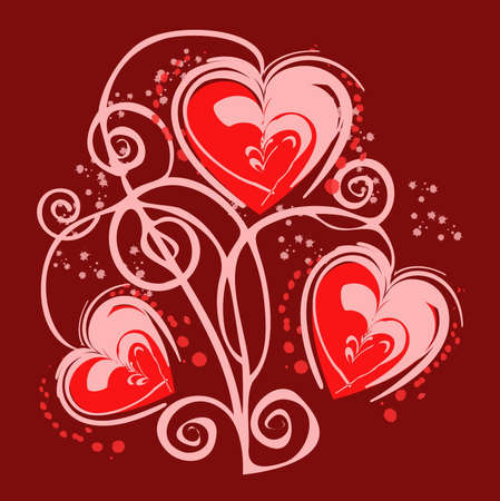Romantic heart background on a red backgraund