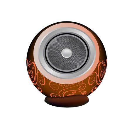 dark orange audio speaker isolated on white background