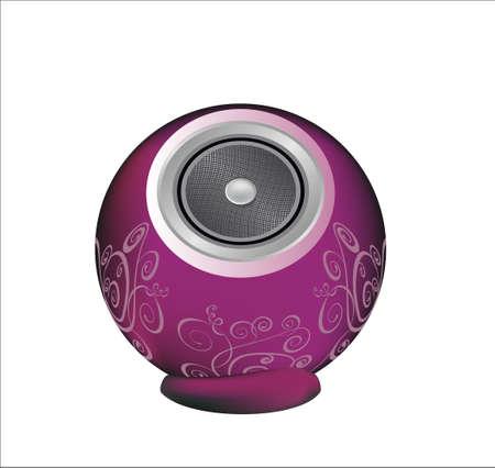 dark pink audio speaker isolated on white background