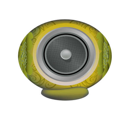 The Yellow audio speaker isolated on white background