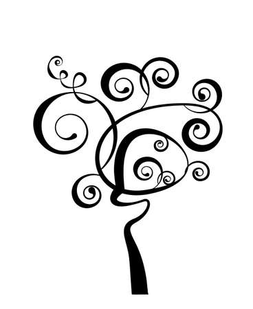 Art tree beautiful, black silhouette isolated on a white background Vector