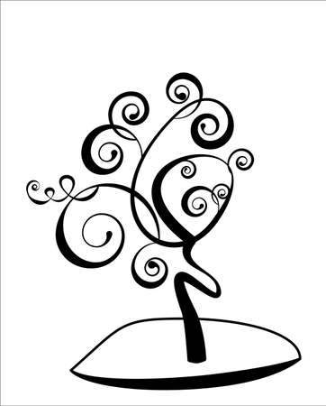 leaf curl: Art tree beautiful, black silhouette isolated on a white background