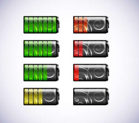 Vector batteries icons isolated on a with background Illustration