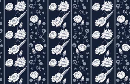 Poppies  Seamless background on a dark blue background Illustration