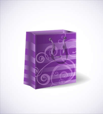 Violet shopping bag isolated on a with background