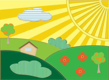 Background scrapbooking landscape with house,  sun and trees Vector