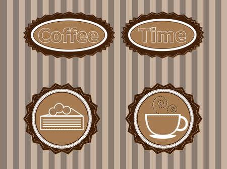 een set van stickers om koffie te adverteren