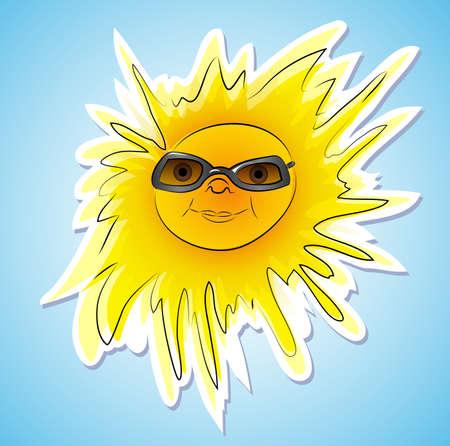 Happy summer sun with sunglasses on blue sky