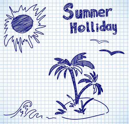 holliday: summer holliday doodles on paper in the box