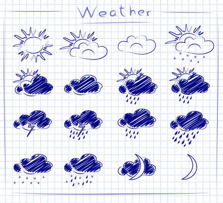 Set doodle icons of weather on paper in the box Stock Vector - 13026654