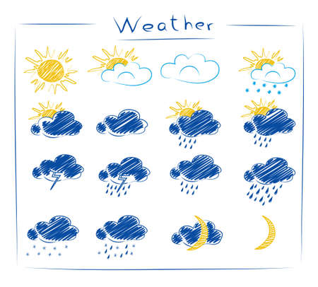 Set doodle icons of weather isoleted on wight background Vector