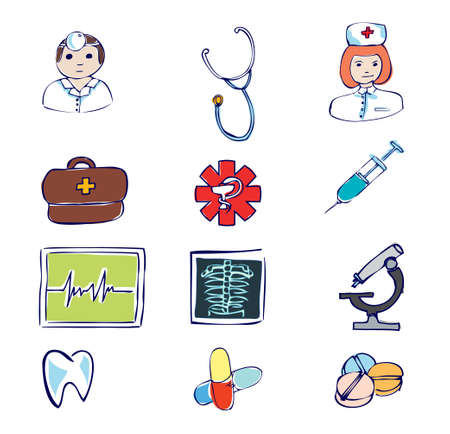 Set doodle medical and hospital symbols and icons Stock Vector - 13026651