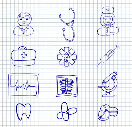 medical symbol: Set doodle medical and hospital symbols and icons  on a paper background