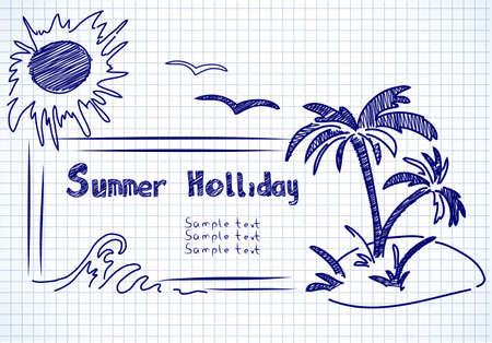 summer holliday doodles on a paper background
