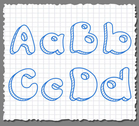 Vector sketch 3d alphabet letters on paper background - ABCD