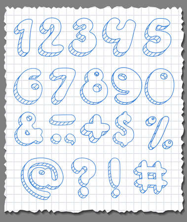 Hand-drawn 3d numbers set  on paper background  Vector illustration
