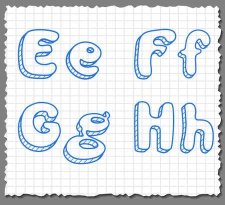Vector sketch 3d alphabet letters on paper background - EFGH Illustration
