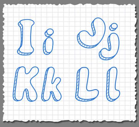 Vector sketch 3d alphabet letters on paper background - IJKL Illustration