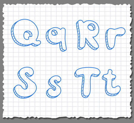 Vector sketch 3d alphabet letters on paper background - QRST Illustration