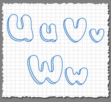 Vector sketch 3d alphabet letters on paper background - UVW Illustration