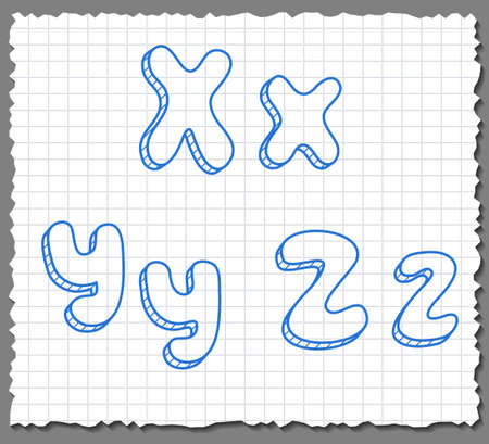 xyz: Vector sketch 3d alphabet letters on paper background - XYZ Illustration