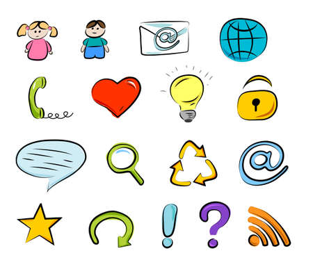 Hand drawn internet and web icons  isolated on white background