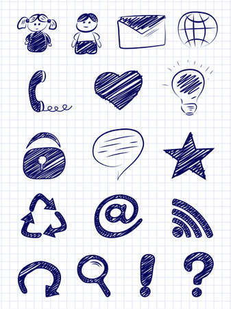 hand baskets: Hand drawn internet and web icons on a paper background