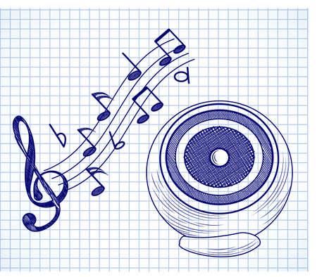 Doodle audio speaker on a paper background Vector