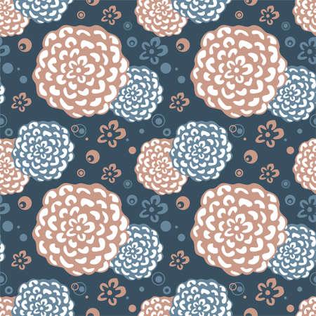 Bright Floral seamless pattern on dark background Illustration