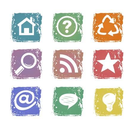 Grunge web icons isolated on white background Illustration