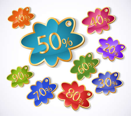 discount labels set isolated on a white background