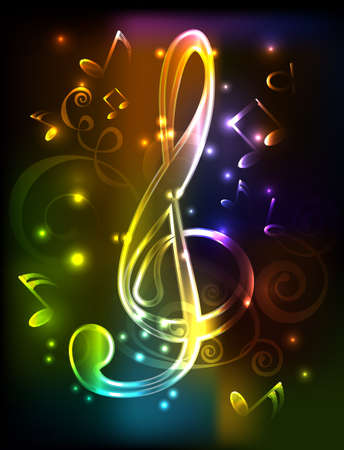 neon treble clef illustration whith note Vector