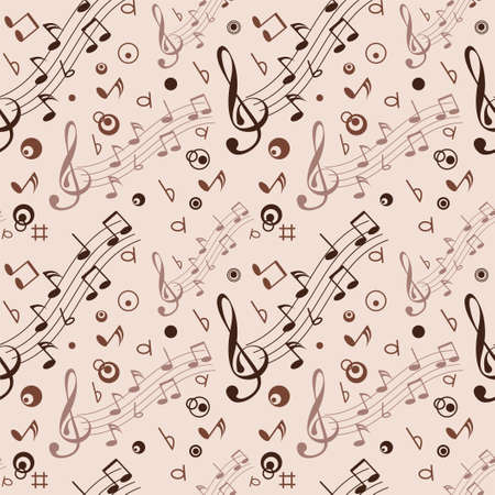 Seamless with some musical notes on light background Vector