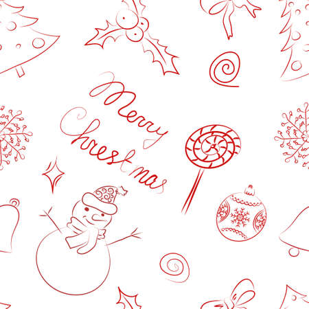 Stock Vector Illustration  Set of Christmas design elements in sketch style Vector