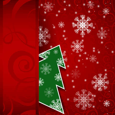 Vector illustration  Paper red vertical background with Christmas tree and snowflake Stock Vector - 16061662